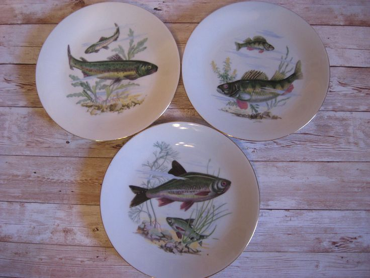 "Vintage Fish Plates 7.5"" in 2020 Fish plate, Vintage"