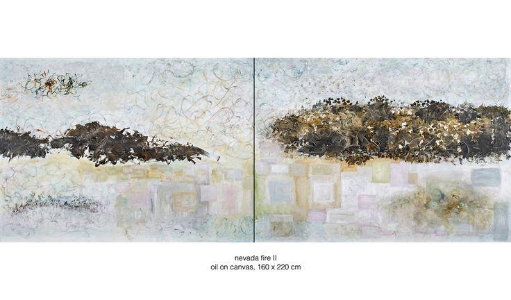 nevada fire II, oil on canvas, 160 x 440 cm