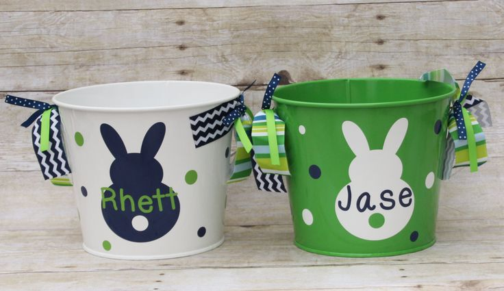 Personalized Easter Basket  Monogrammed Easter Bunny Bucket Easter Pail Easter Egg Hunt Easter Party Favor Monogrammed Bunny Boy Girl by TGNCreations on Etsy