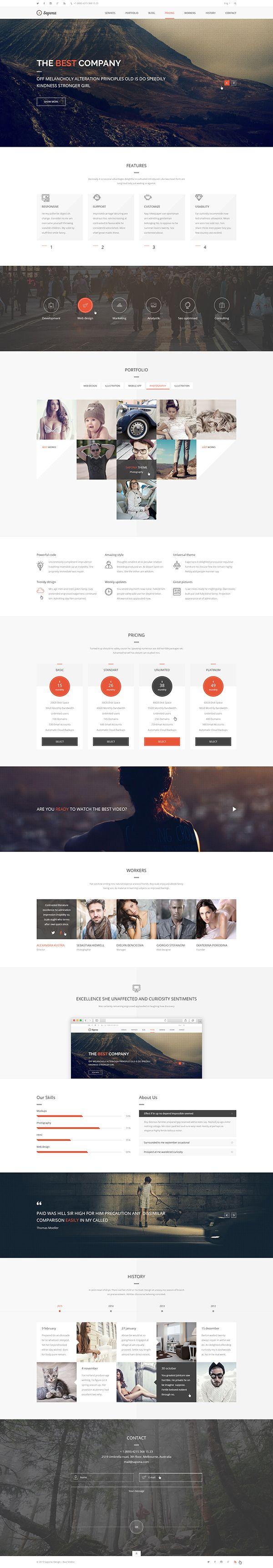 Sapona One Page Theme on Behance