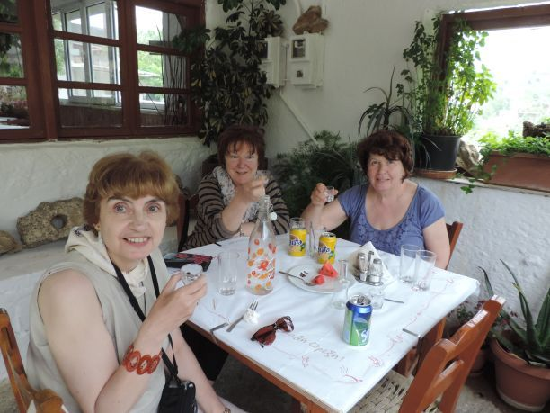 Girls day out at an isolated traditional taverna in the Thripti mountains in eastern Crete. Wonderful mountain lamb and local wine!