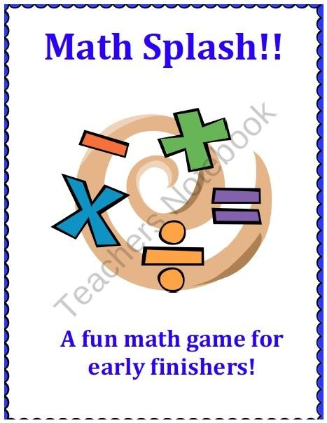 Math Splash- an Early Finishers Math Game! product from 1st-Grade-Essentials on TeachersNotebook.com