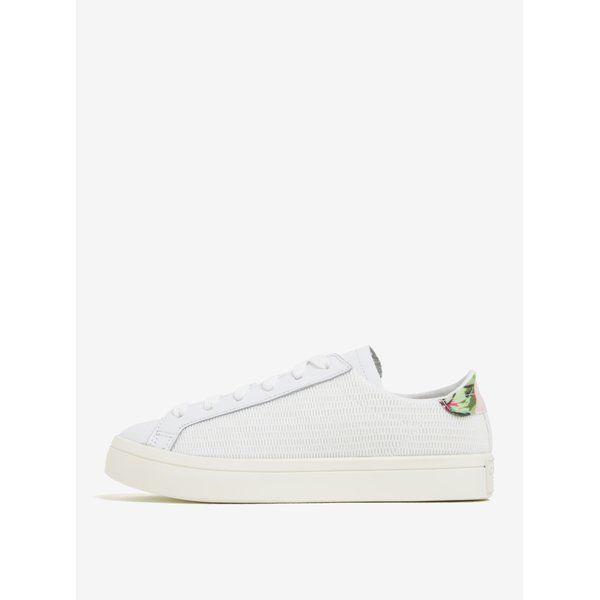 Pantofi sport albi cu model floral Adidas Originals Courtvantage