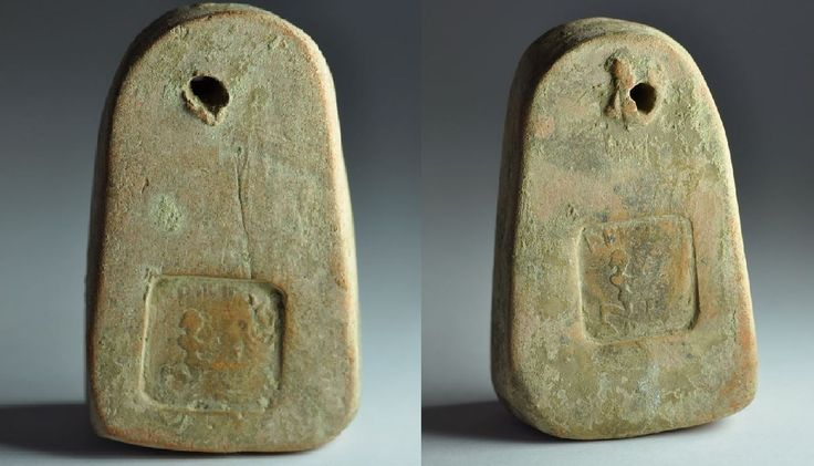 Greek loom weight, 3rd century B.C. Kneeling figure figure and inscription ΑΡΙΣΤΟ. Private collection