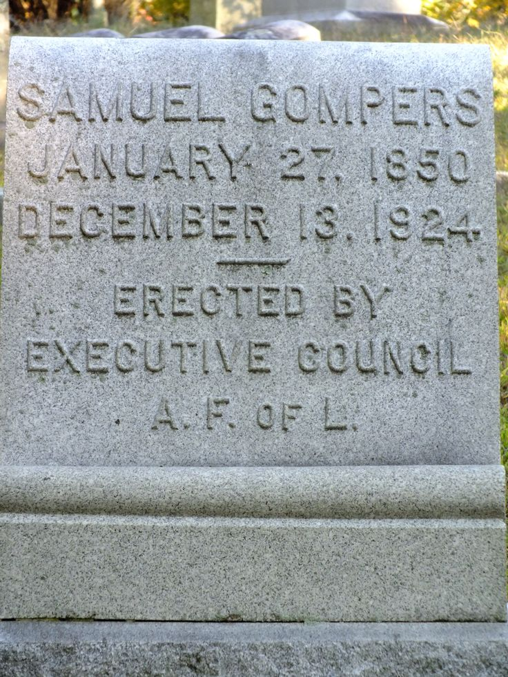 The grave of Samuel Gompers, founder of the American Federation of Labor, at Sleepy Hollow Cemetery in the village of Sleepy Hollow, New York.