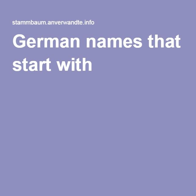 German Names That Start With S