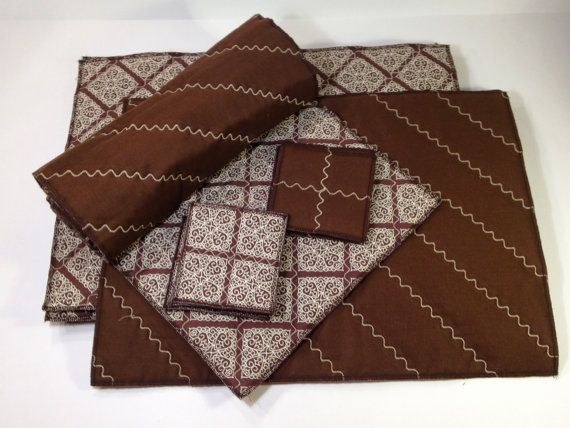 Reversible Quilted Table Linen Set  Brown Placemat by modernarras, $99.99