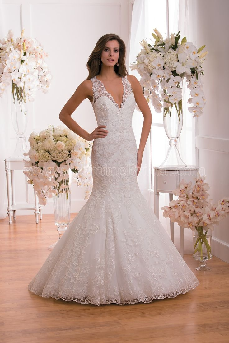 F171019 By Jasmine Collection Is A Lace Trumpet Wedding