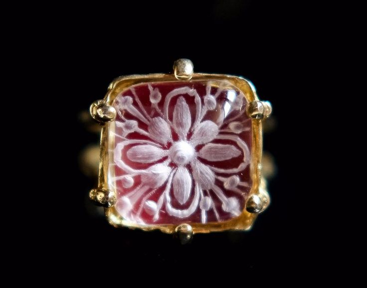 intaglio flower crystal quartz sterling silver ring,red ring, Greek jewelry #rosette #Engagement