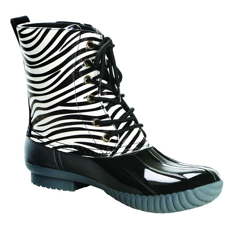 Women's Duck Boots - Sweet And Sassy Animal Print - Zebra - Size 8 -- More info could be found at the image url.