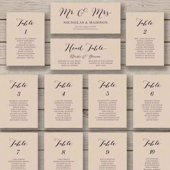 Wedding Seating Chart Template Printable By