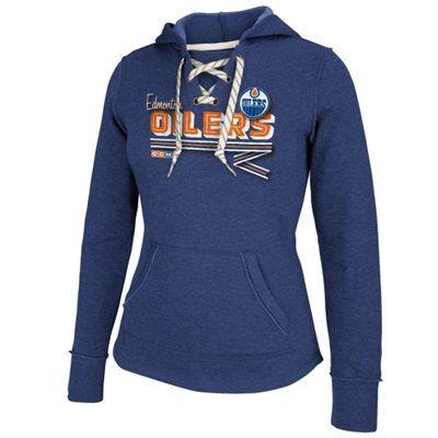 Womens Edmonton Oilers Reebok Blue CCM Classic Ribbon Lace-Up Hoodie