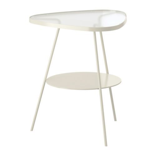 ULSBERG Bedside table - white/frosted glass - £25 ONLY from IKEA.com (would be great to go next to your sofa!!!!)