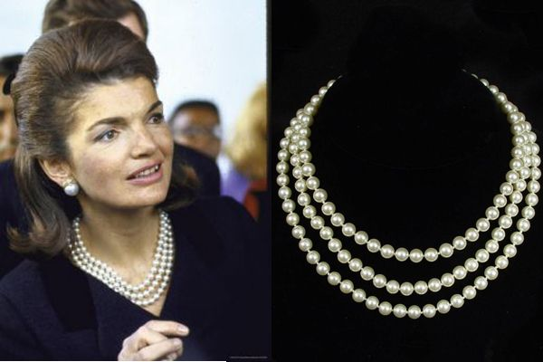 Jackie Kennedy 3 strand faux pearls