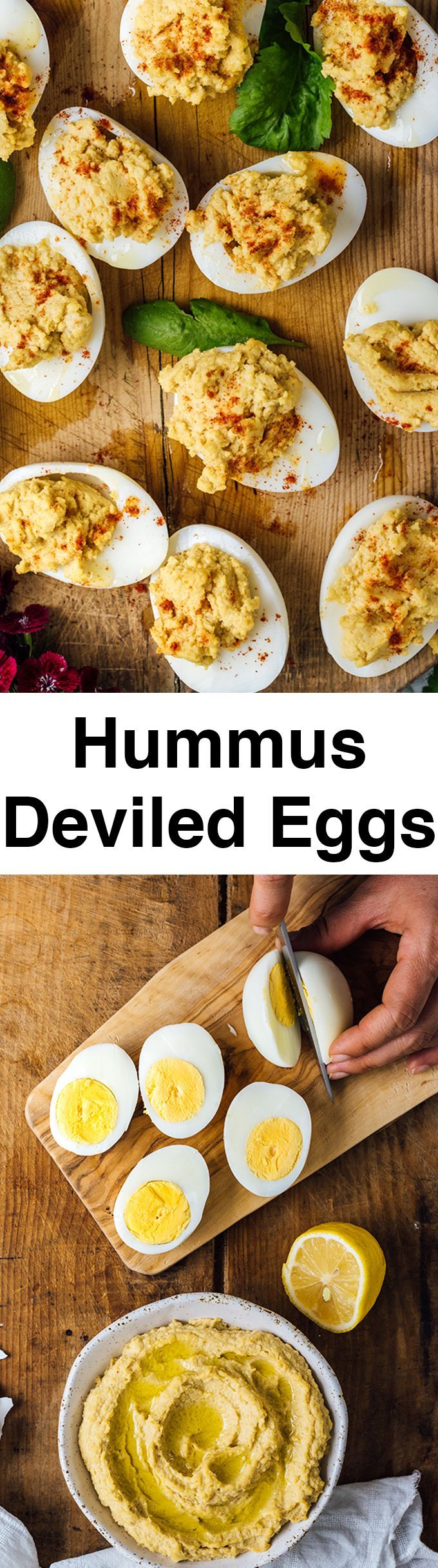 Hummus Deviled Eggs are the combination of two addictive appetizers. Creamy hummus replaces mayonnaise and makes perfect mayo-free deviled eggs. They will disappear so fast that everyone will beg for more.