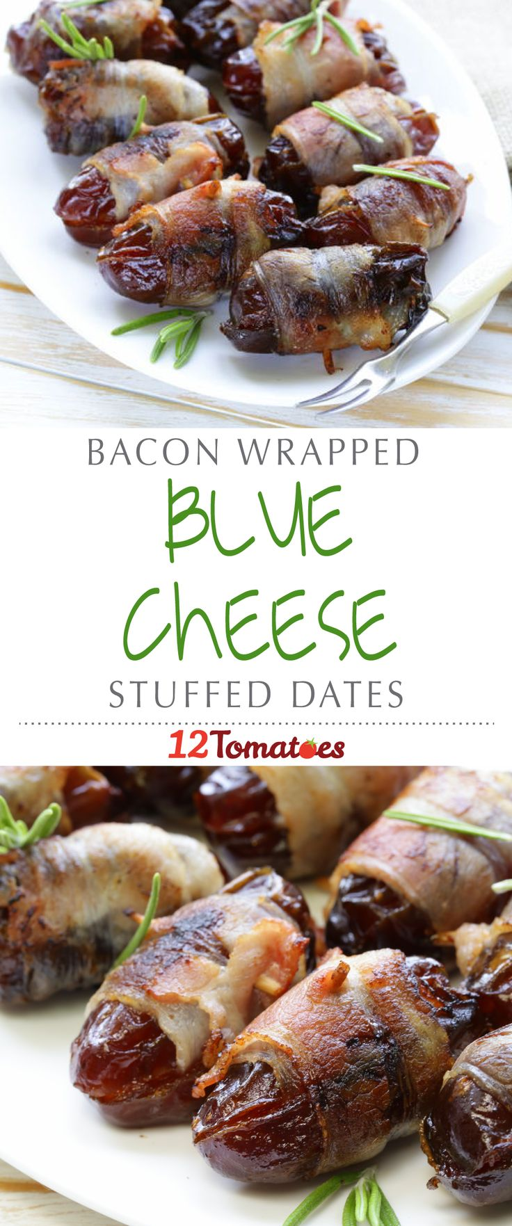 Bacon-Wrapped Blue Cheese Stuffed Dates | If blue cheese isn't for you, go ahead and try these bacon-wrapped snacks without it– they're still delicious.