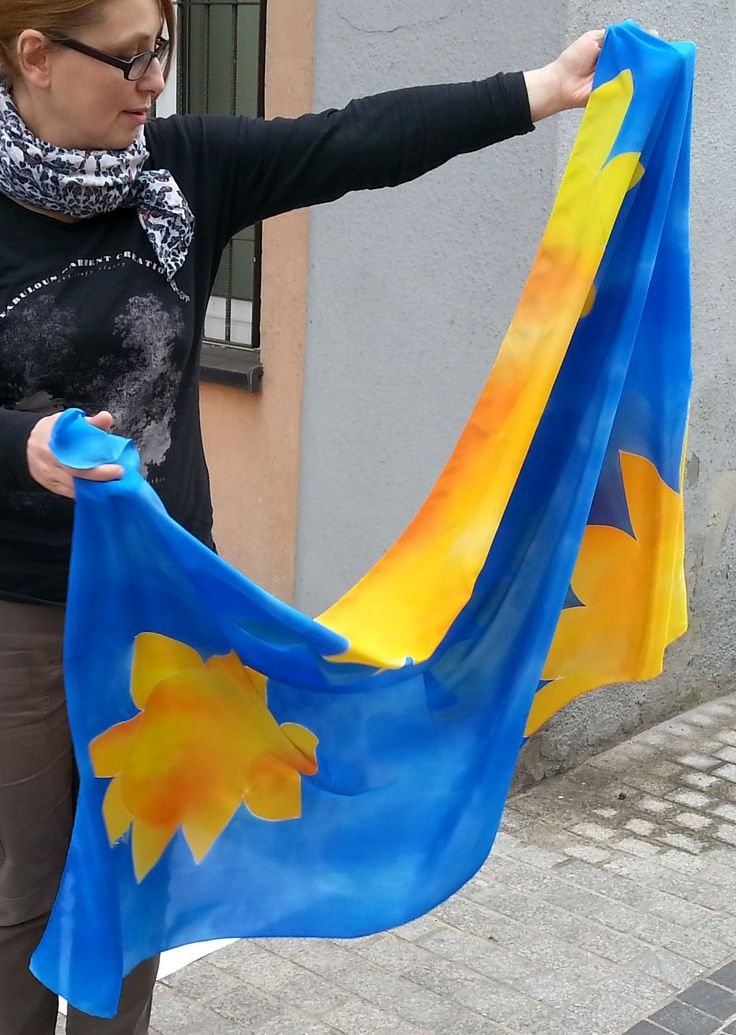 Pictures done with friend's help outside of my workshop. Blue summer sunflower scarf with impression of sunflowers in shimmering blue water. Big scarf 90 x 180 cm, can also be used as pareo.