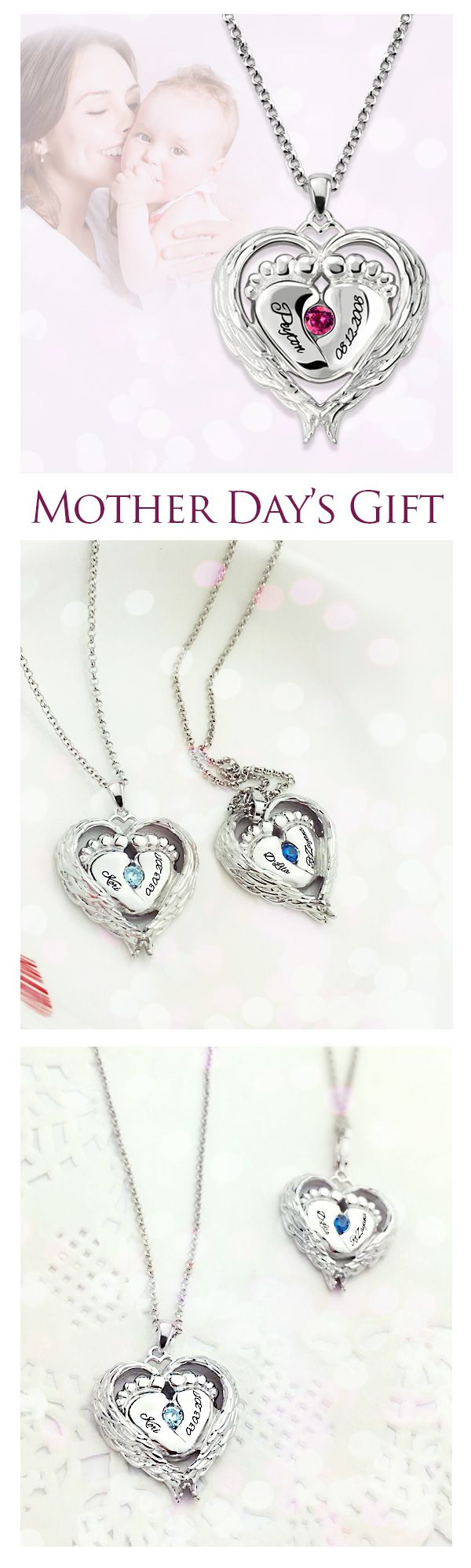 Angel Wings Baby Feet Necklace With Birthstone is  special gift for the woman who's been there for you since the start.Create your own necklace for mom from getnamenecklace