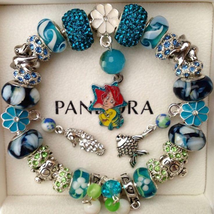 Licensed Disney Ocean Princess The Little Mermaid Mother Of Pearl Charm Bracelet
