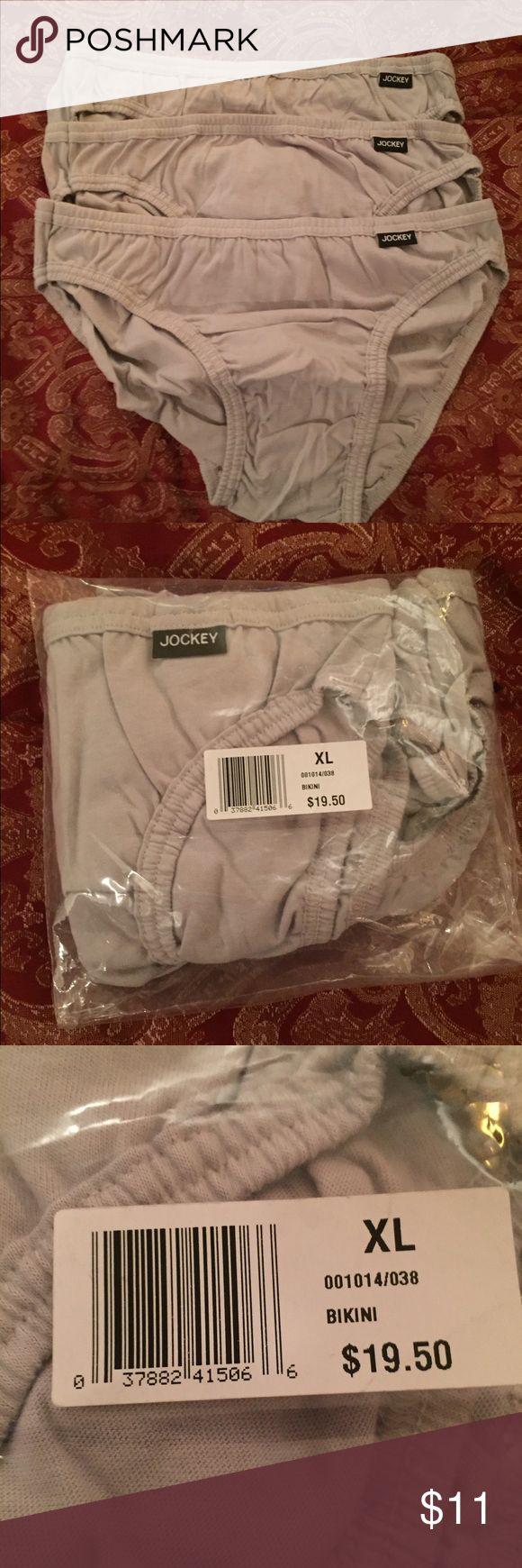 Men's Jockey Elance Bikini Briefs Underwear 3 pack Men's Jockey Elance Bikini Briefs Underwear....3 pack...color Gray...size XL....100% cotton....made in Honduras Jockey Underwear & Socks Briefs