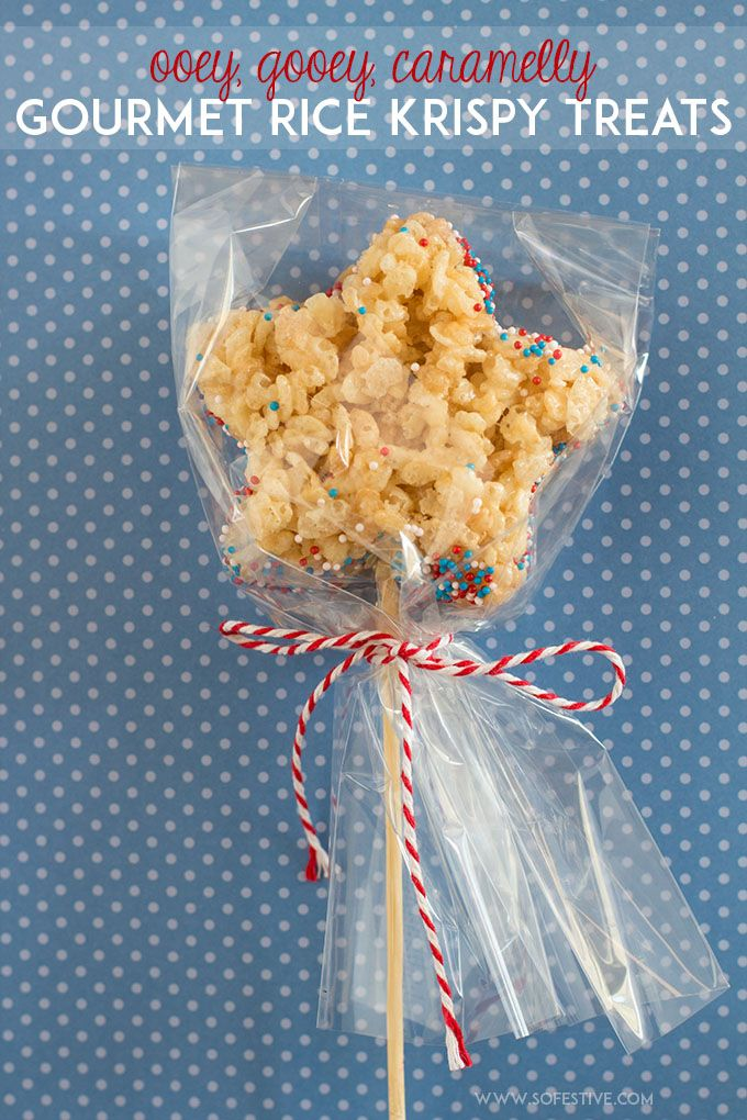 Looking for a festive Fourth of July treat? Make a big batch of these gourmet rice krispy treats. Use skewer sticks and a cookie cutter to make them look like a star-sparkler. Click through for the recipe or save this pin for later.