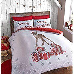 CHRISTMAS DEER FAWN PRESENTS RED WHITE USA FULL (200CM X 200CM - UK DOUBLE) DUVET COMFORTER COVER