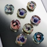 Fun face glass magnets.
