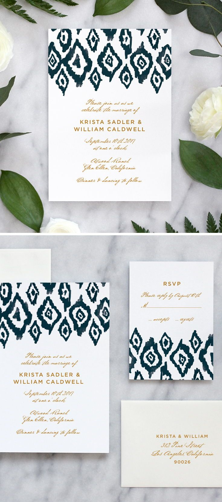 Ikat Watercolor Wedding Invitations Watercolor Wedding