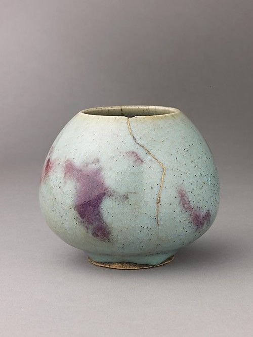 Jun Ware  13th century.  Porcelain stoneware with splashed blue glaze
