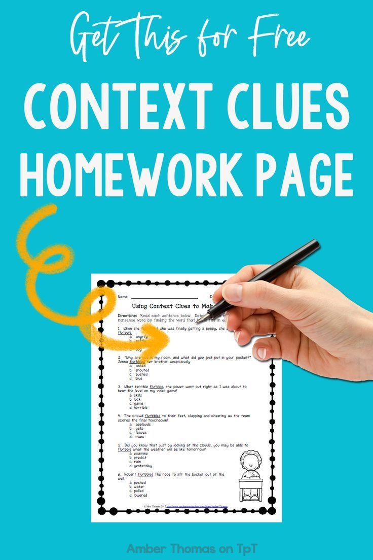 Free Context Clues Worksheet   Context clues [ 1104 x 736 Pixel ]