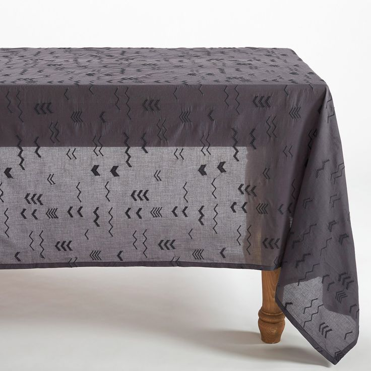 Coyuchi Abstract Embroidered Voile Charcoal Tablecloth @Zinc_Door #rustic #nautical #modern #zincdoor #home #decor #tablecloth #dining #gift #tribal