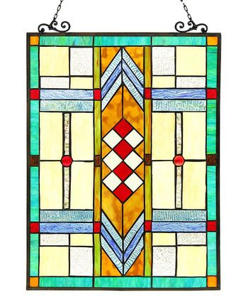 The Arts & Crafts Mission Mathias Stained Glass Panel has geometrical design featuring a palette of reds, greens, blues, browns, and orange art glass.