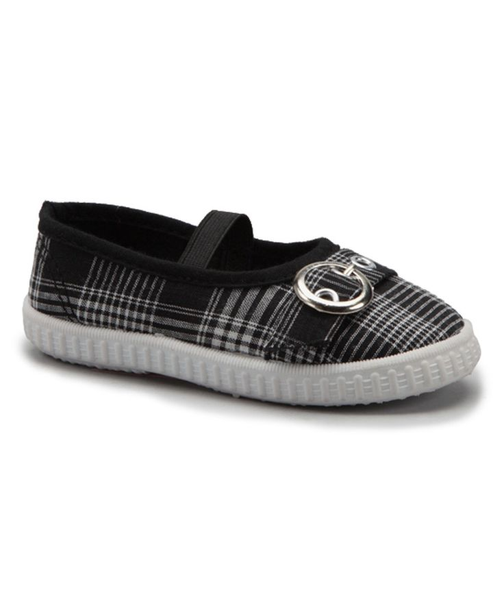 Look at this Rockland Footwear Black Plaid Cutie Strap Ballet Flat on #zulily today!
