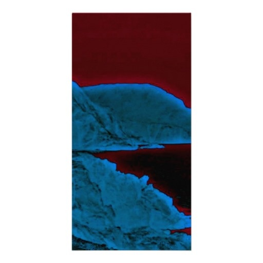Glowing Blue Cliffs Dark Water Photo Card
