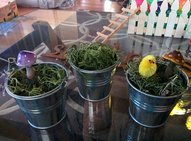 Galvanised pails with peeps, moss and mushrooms. Super simple spring decor
