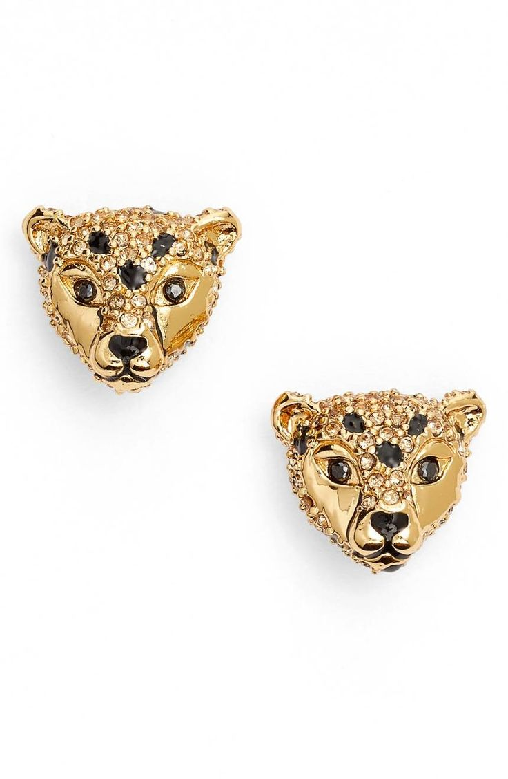 Add some fierce style to your weekday routine with sparkling cheetah studs illuminated with pavé crystals.