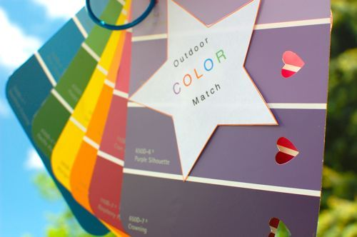 For a fun time, put paint chip cards of different colors on a binder ring, and punch a large hole in each shade. Go outside and try to match...