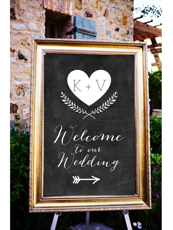 Chalkboard Welcome to our Wedding Personalized Sign, Wedding Arrow Sign, Wedding…