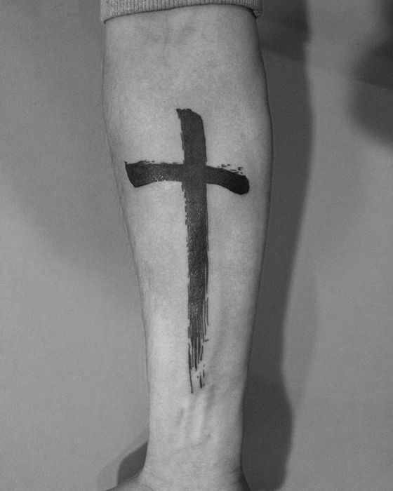 Mens Inner Forearm Simple Cross Brush Stroke Tattoos