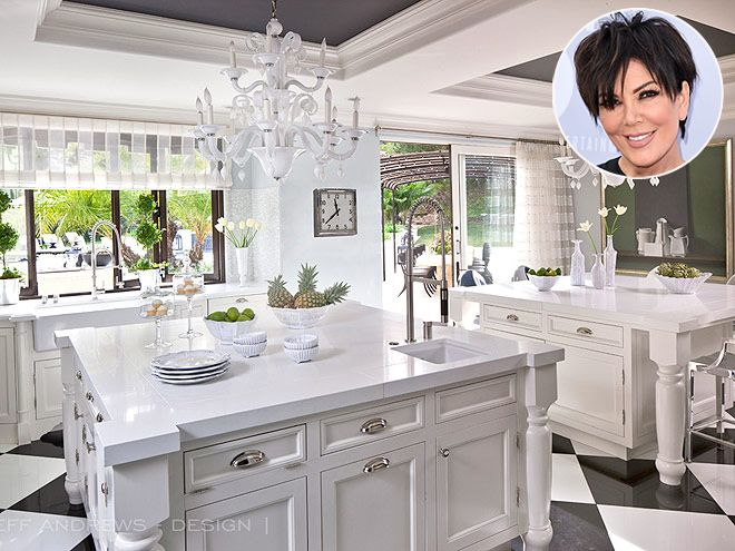 Look Inside These Gorgeous Celebrity Kitchens | KRIS JENNER | Having a big family means that the cookbook author must churn out even bigger meals in her L.A. home; the larger-than-life task calls for two kitchen islands to make food prep manageable … and prettier.