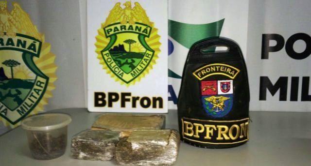 Polícia Militar através do BPFron apreende maconha e encaminha homem em Guaíra