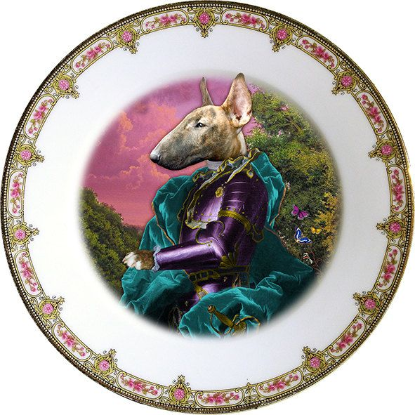Lord Tango - Bull terrier - Vintage Porcelain Plate - #0154 by ArtefactoStore on Etsy