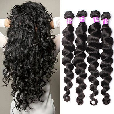 4 Bundles Wavy 100% Brazilian Virgin Hair Weft Loose Wave Hair Extensions Weave