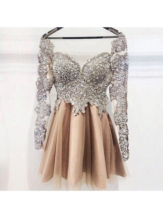Short Prom Dresses,Champagne Prom Dresses,Short Homecoming Dresses,Unique Prom Dresses @SevenProm
