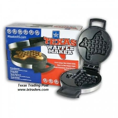 Back in stock!  We Buy 4-6 CASES at a time of our Texas shaped waffle makers and they sell out faster than we can get 'em unpacked and up on the shelves!  This is a great way to start your day...eatin' your way across Texas!