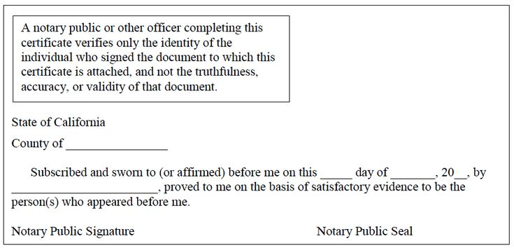 A Completed Jurat Must Be Attached To The Affidavit Or The Notary Public Must Complete The Jurat Included With The Affidavit Notary Public Notary Certificate