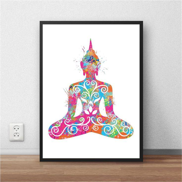 Yoga Buddha Watercolor Poster