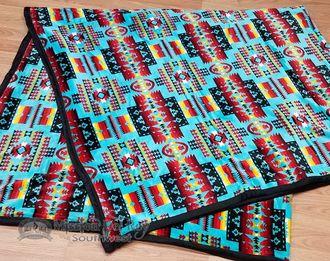 Velvet Fleece Southwestern Blanket Queen/King -Turquoise (bl98)