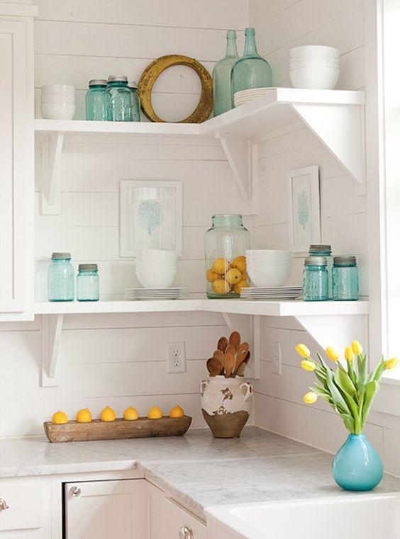 shabby white kitchen