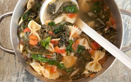 Hearty Greens Soup with Bowtie Pasta and Tomatoes | Recipe